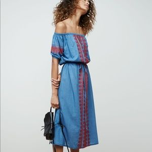 Madewell Denim Embroidered Midi Dress